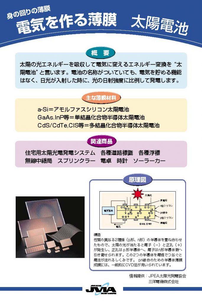 電気を作る薄膜 太陽電池